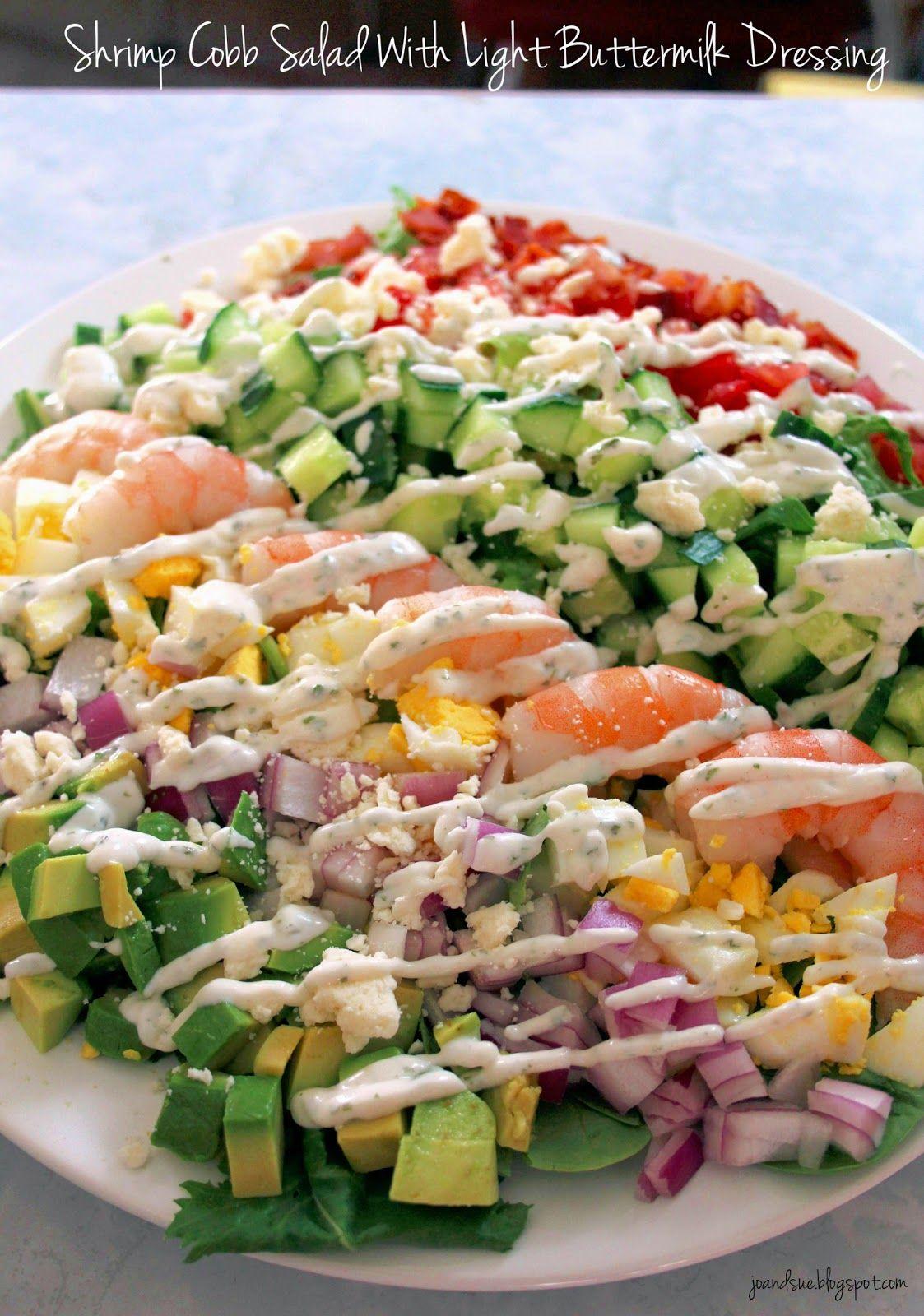 Jo And Sue Shrimp Cobb Salad With Light Buttermilk Dressing Homemade Sauce Recipes Chef Salad Recipes Delicious Salads
