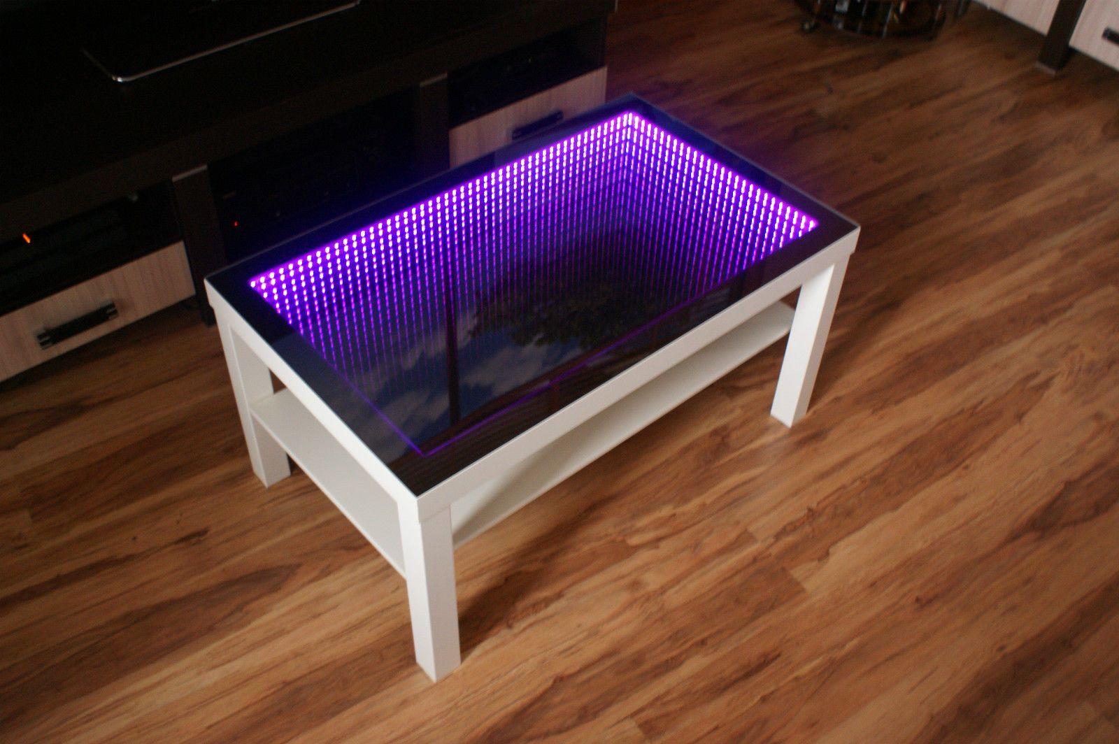 Tisch Couchtisch Glastisch 3d Led Multicolor Wirkung Unendliche Tiefe Spiegel Glastische Wohnzimmertische Couchtisch Led