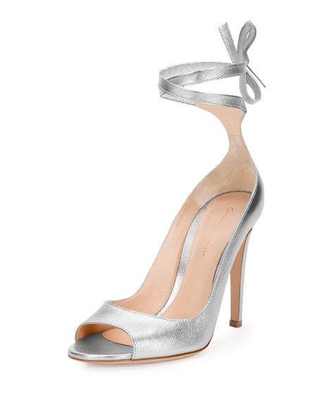 8f1295760420 Gianvito Rossi Metallic Leather Ankle-Wrap Pump