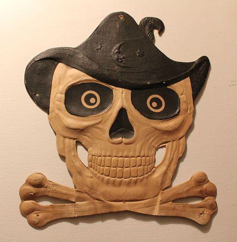 Rare Vintage Halloween German Wall Die-Cut Skull and Crossbones - vintage halloween decorations ebay