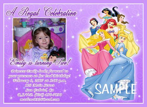 Custom Photo Birthday Party Invitations Disney Princess Kaylynn