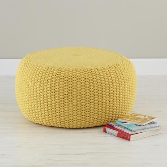 Kids Seating Yellow Knit Braided Pouf Seater The Land Of Nod Extraordinary Yellow Knit Pouf