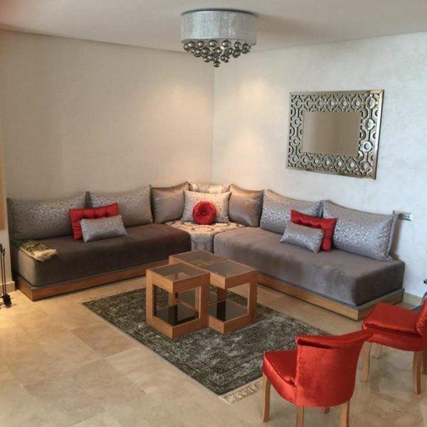 Salon Gris Rouge Brique Interieur Sur Mesure Also Salons Marocains Rh  Pinterest