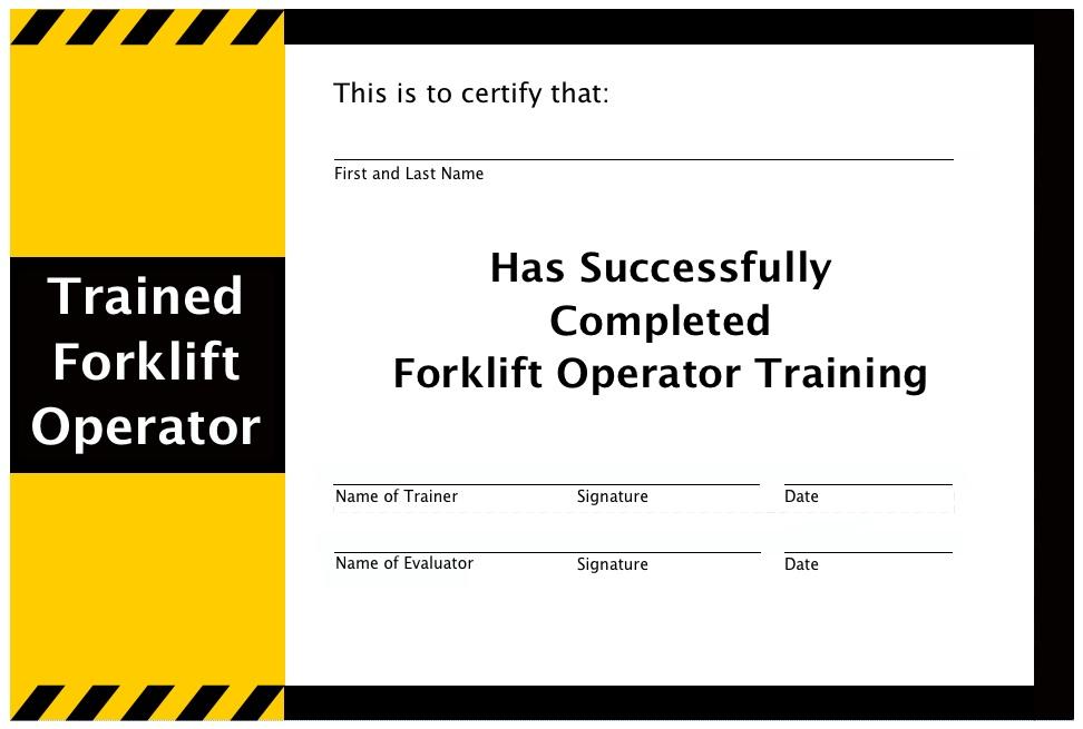 forklift certification operator certificate template training equipment osha driver printable wallet templates lift truck carlynstudio fork trainer maintenance specialist whiz
