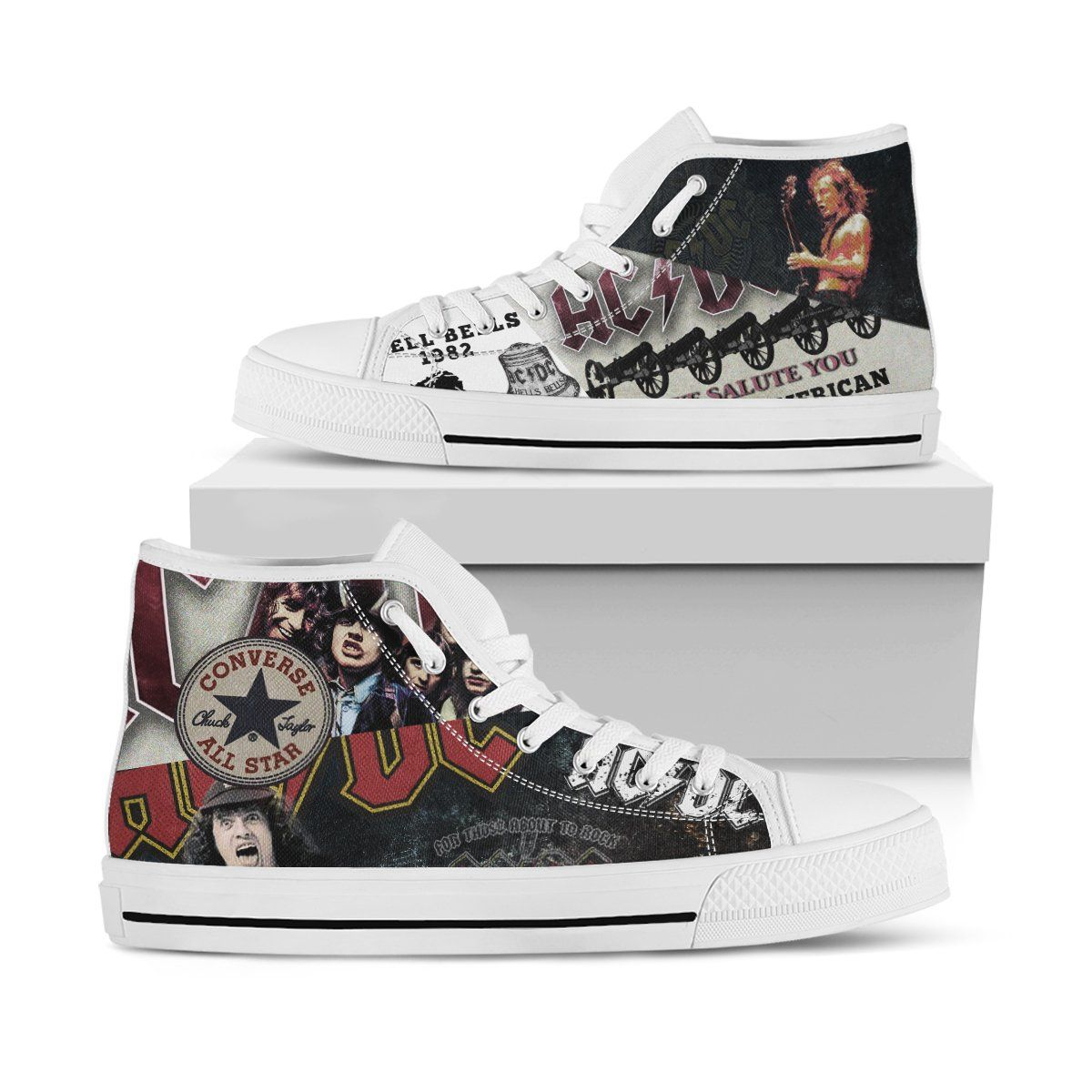 flexible Tratamiento chisme  ACDC Shoes - For Those About To Rock art We Salute You - High Top -  NinePair™ | Acdc shoes, Rock shoes, Shoes
