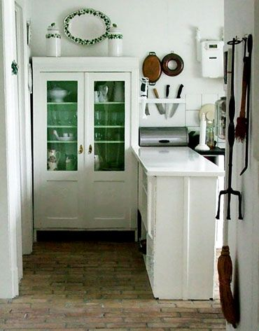 I Like The Brick Floor In This Kitchen And Inside Of Hutch Painted A