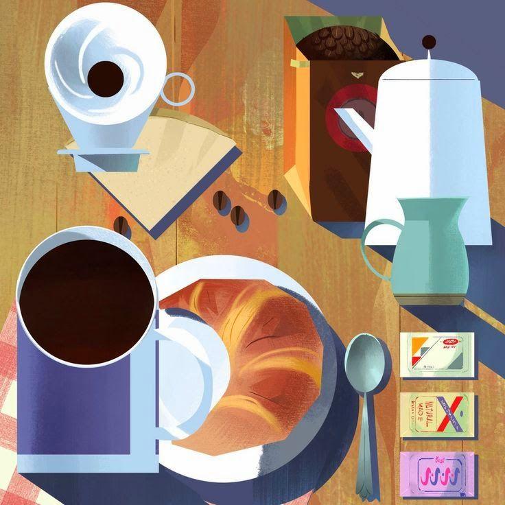 Mike Yamada / Croissant breakfast illustration