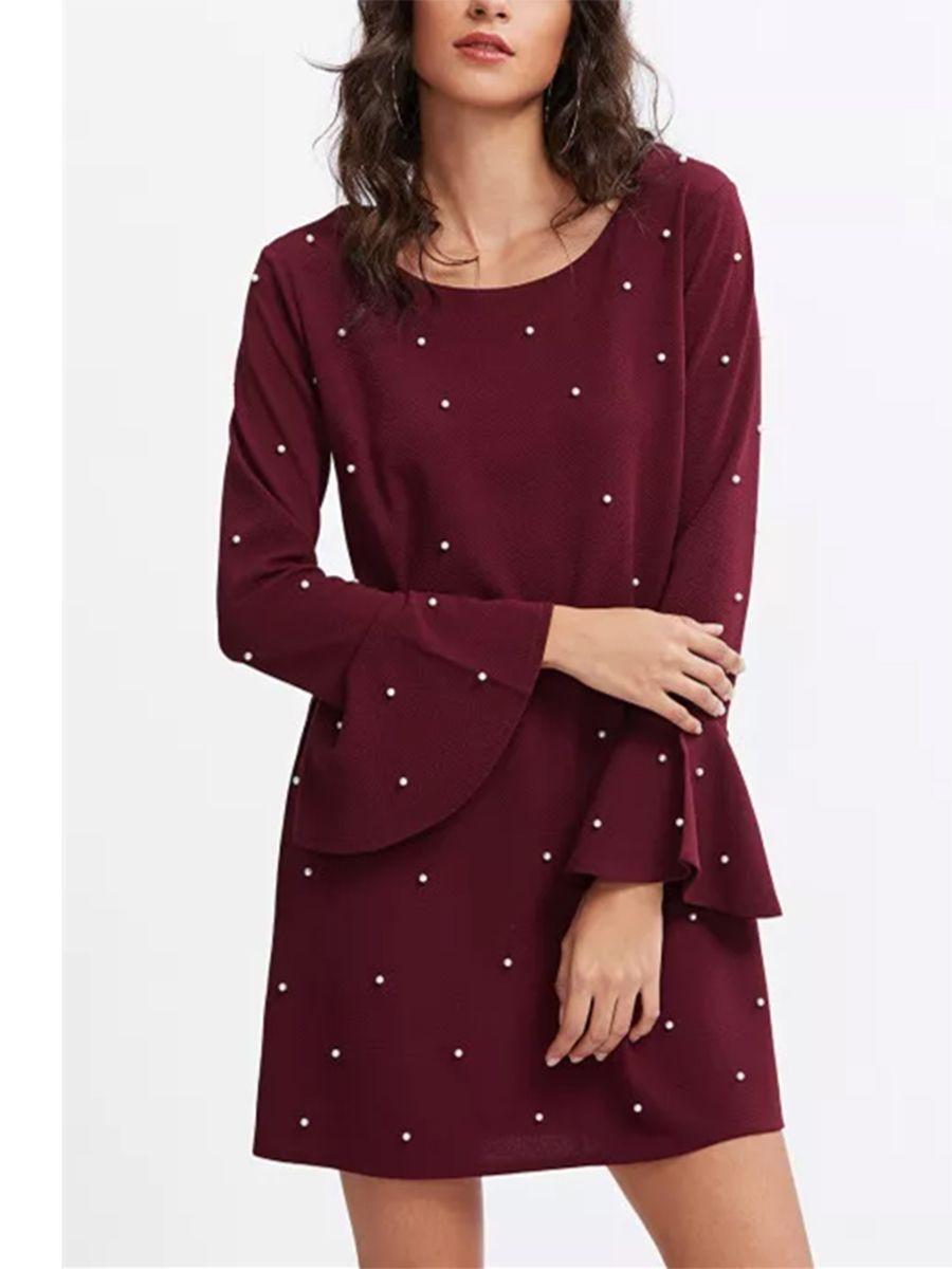 1ebd382dd57 Round Neck Beading Plain Shift Dress  Ad  Beading