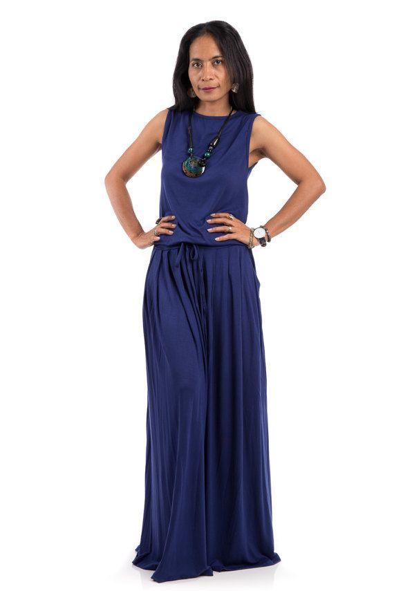 Blue Maxi Dress Indigo blue dress Sleeveless dress with