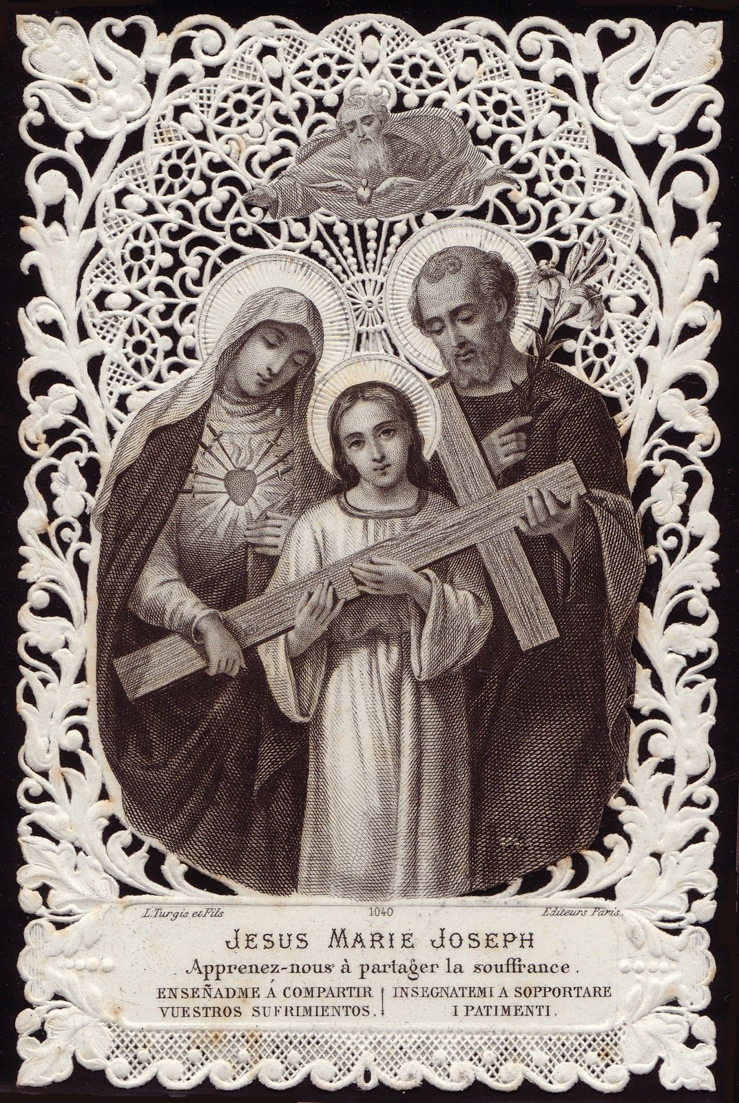 Antique French Lace Holy Card ... The Holy Family ... Jesus, Mary & Joseph