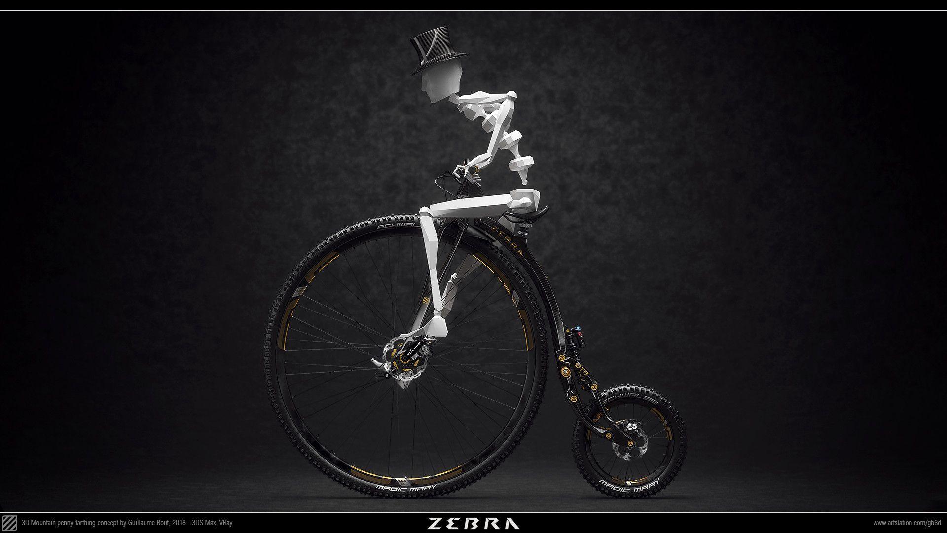 Artstation Zebra Otb 21st Century Mountain Penny Farthing Guillaume Bout Penny Farthing Bike Bout