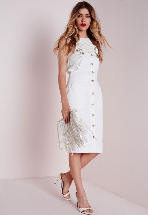 043d39651b1 Dungaree Denim Midi Dress White - Dresses - Midi Dresses - Missguided