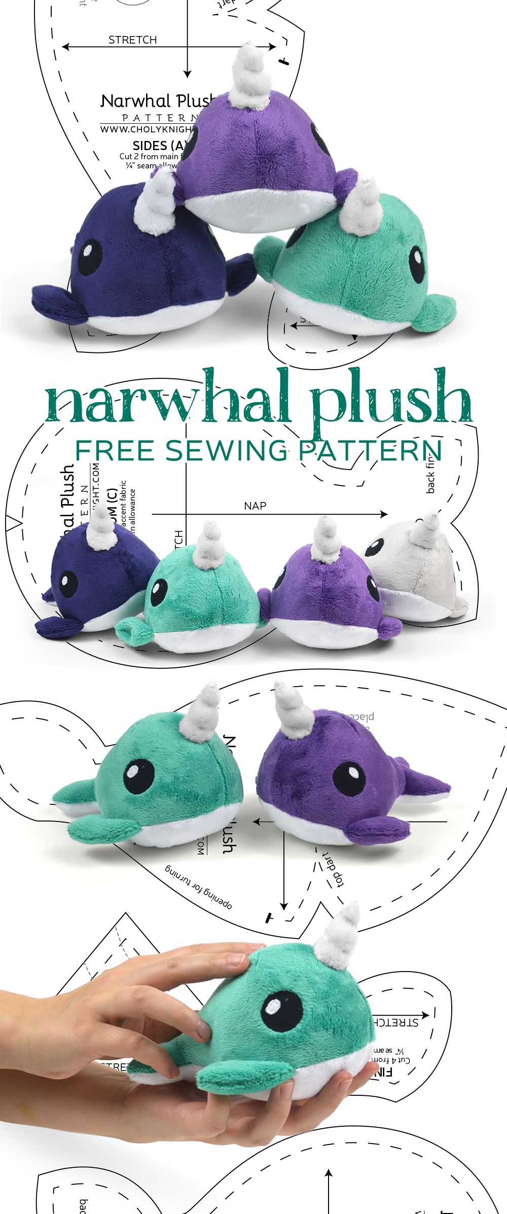Palm-sized narwhal free PDF pattern download! | Sewing | Pinterest ...