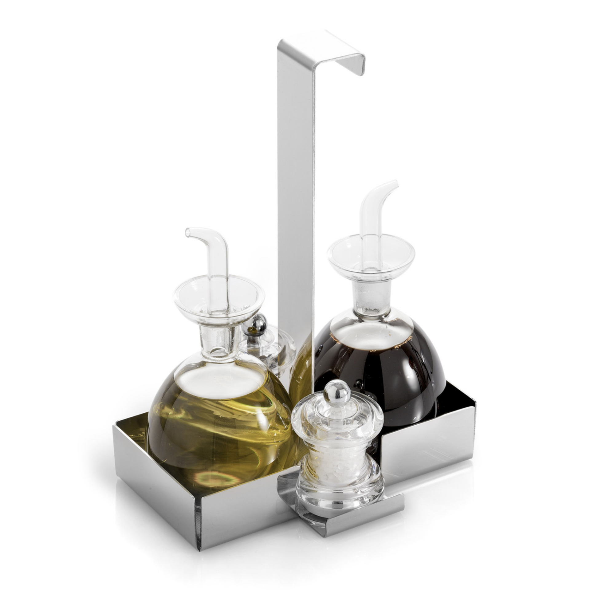 Tabletop Condiment Caddy With Oil And Vinegar Cruets And Salt And Pepper  Shakers
