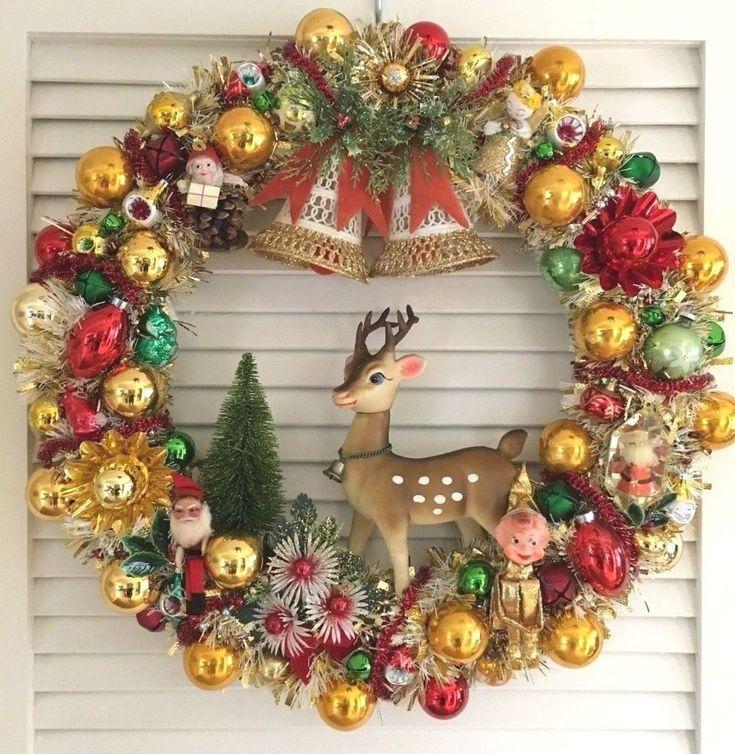 Vintage Christmas Ornament Wreath Reindeer Knee Hugger Gold Mercury Glass Christmas Wreaths Vintage Christmas Decorations Christmas Ornament Wreath