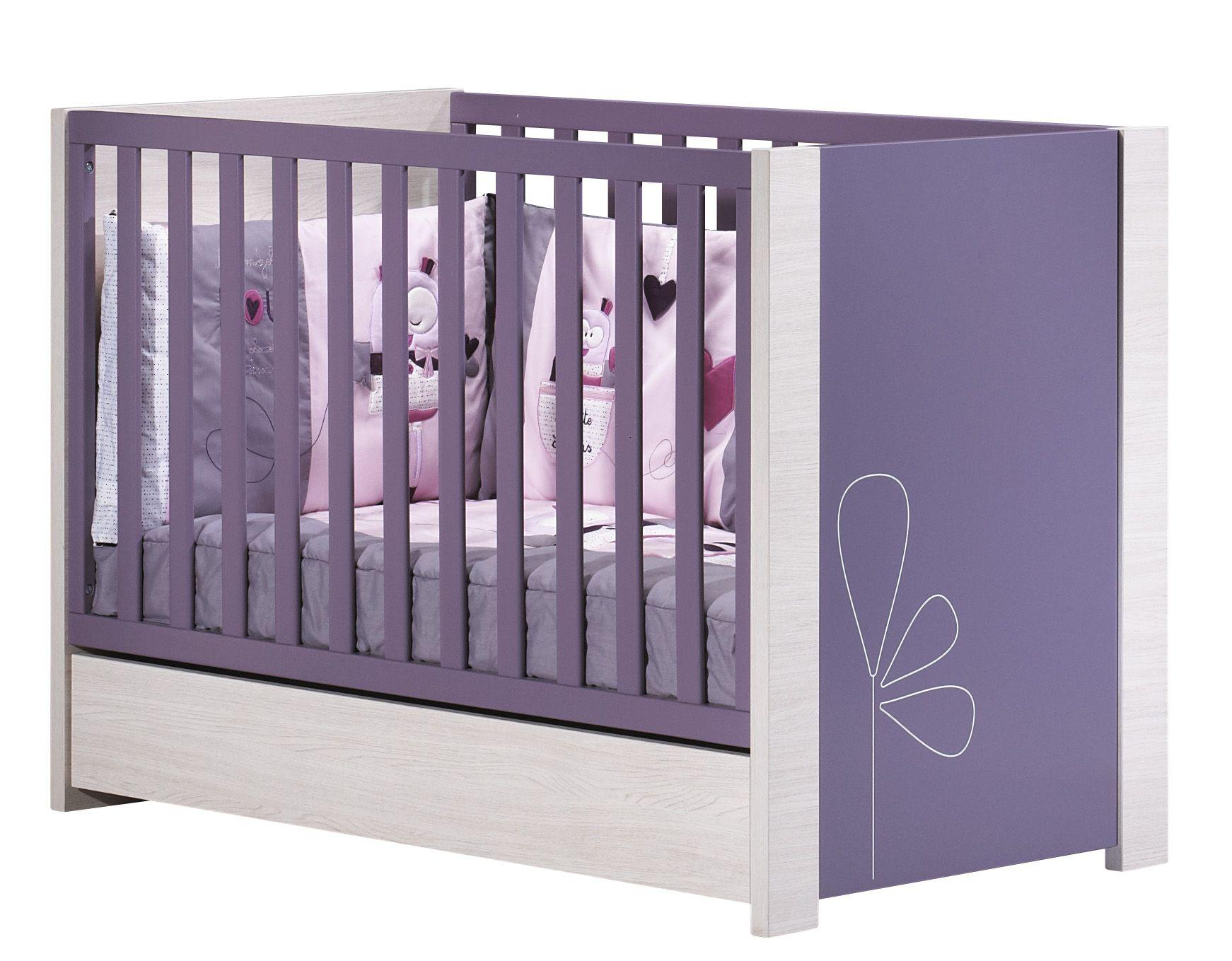 Tiroir taupe avec bouton lune pour lit bébé India de 120x60 cm non ...