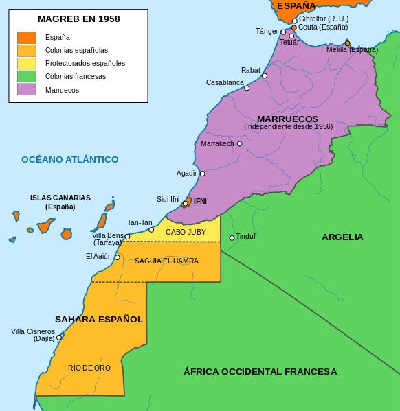 File Mapa Del Magreb 1958 Svg Marruecos Colonias Españolas Tánger Marruecos