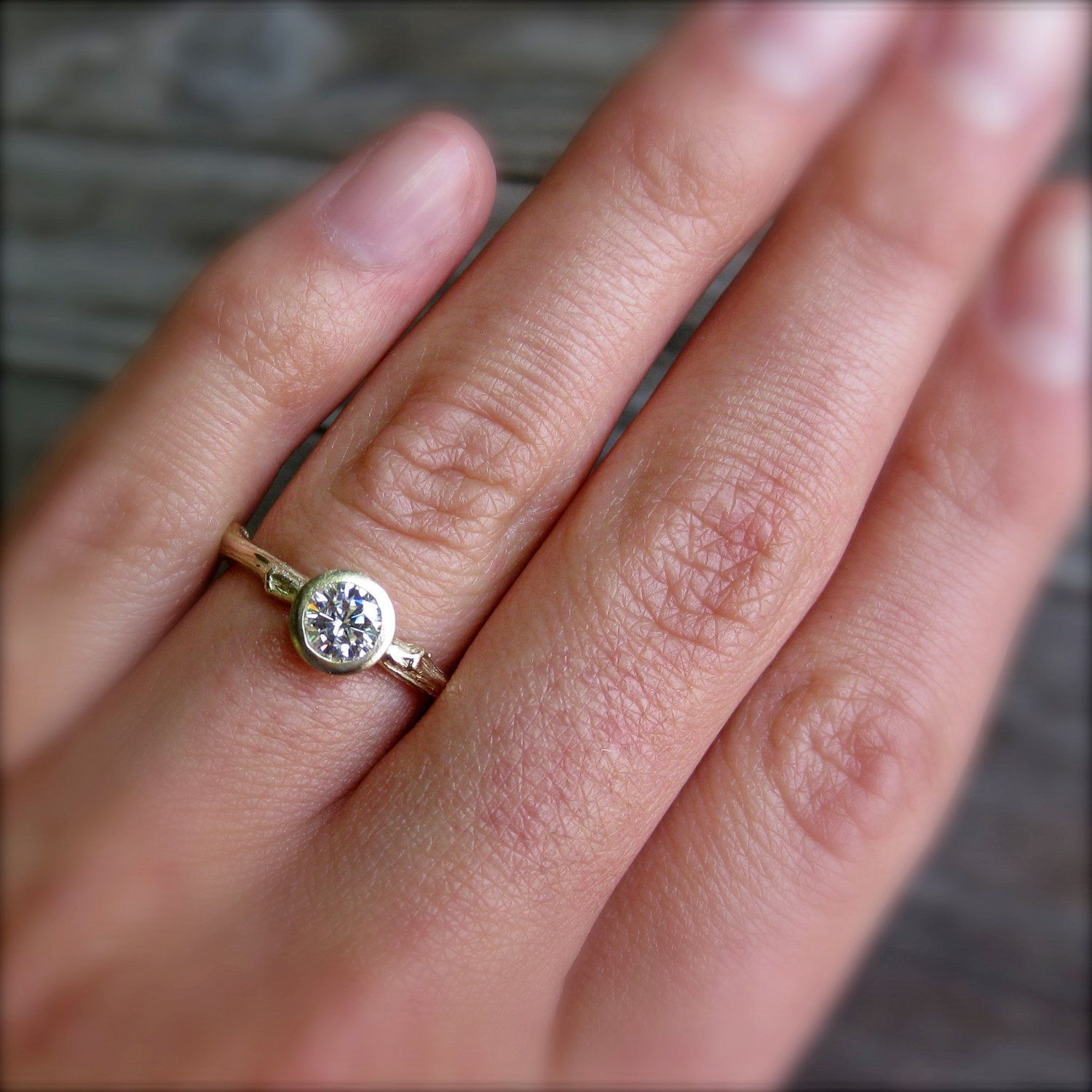 Moissanite Twig Engagement Ring in Recycled Gold, Half Carat, via ...