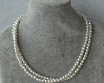 Collar de perlas de marfil o blanco collar de por glasspearlstore