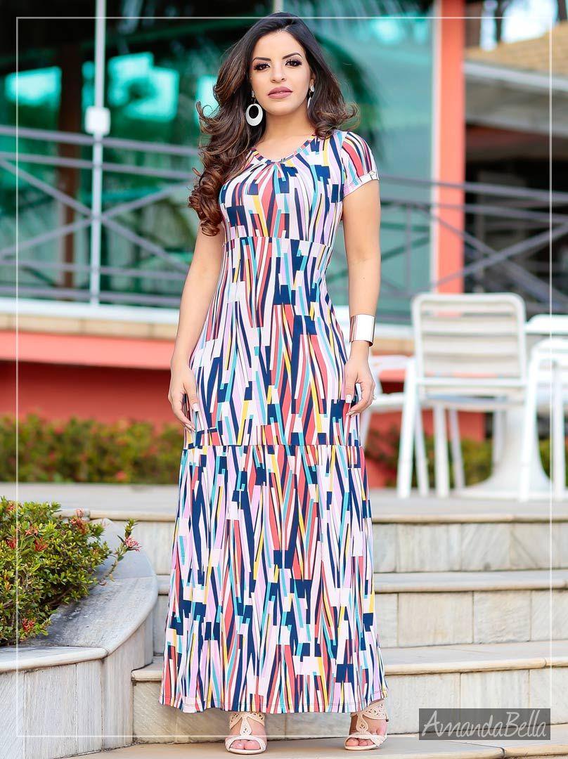 dbed0612e Vestido Geométrico Longo é na AmandaBella Moda Evangélica e Executiva. ✓  Frete grátis para compras acima de R$350,00 para todo o Brasil.