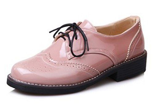 Women's Trendy Burnished Low Block Heels Lace up Brogues Oxfords Shoes