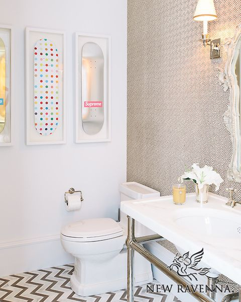 Raj, a stone waterjet mosaic, is  shown in Driftwood, Thassos and Heavenly Cream.<br /> -photo courtesy of Lonny.com<br /> http://www.lonny.com/mag/osWdLZXQXc7/May+2014/#enLAM5StcVN/Young+at+Heart