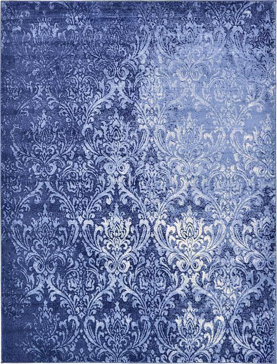 Light Blue 9' x 12' Damask Rug | Area Rugs | eSaleRugs