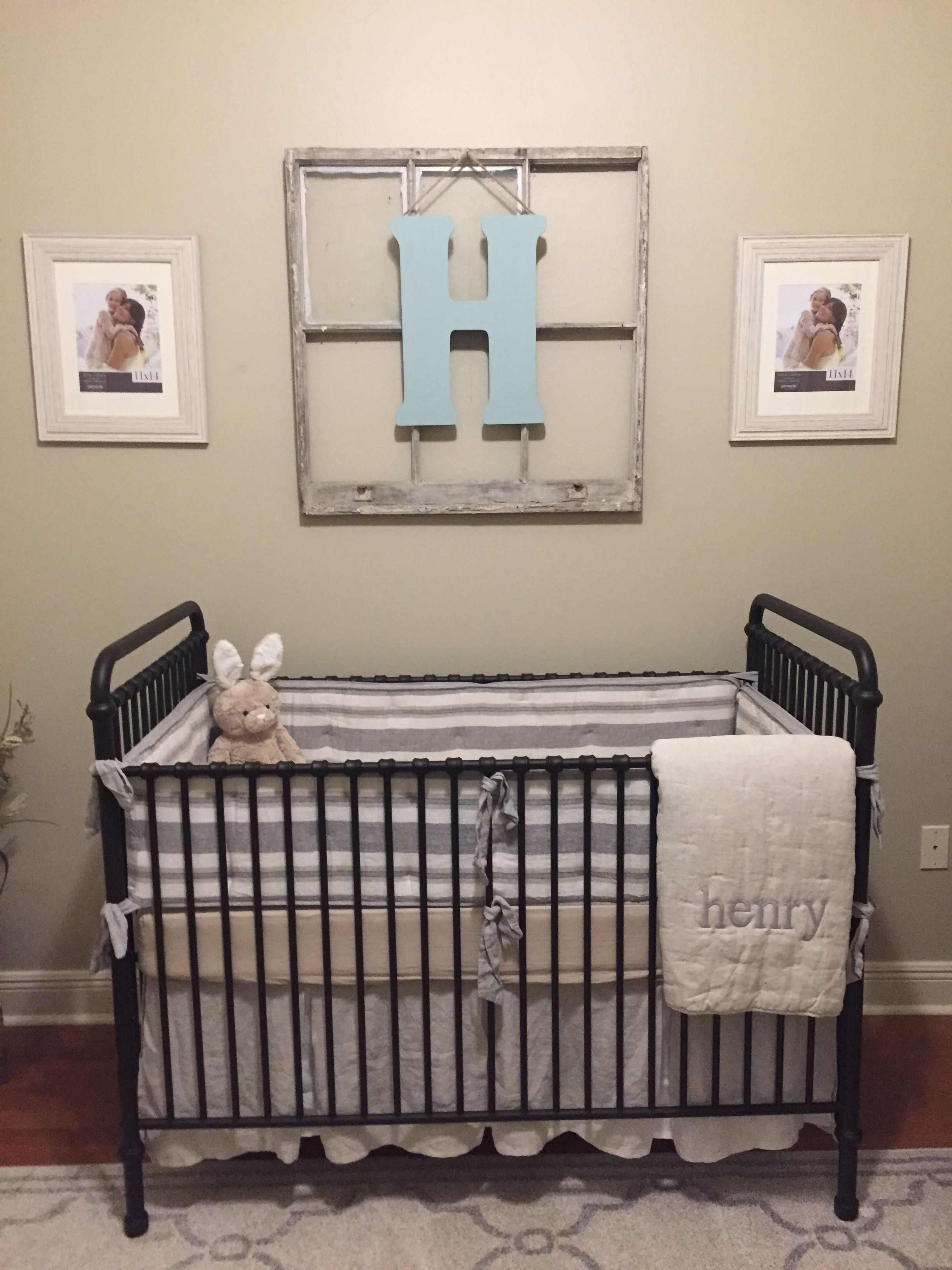 Farmhouse Style Nursery Vintage Nursery Classic Nursery Wrought Iron Crib Repurposed Window With Initi Farmhouse Style Nursery Iron Crib Nursery Iron Crib