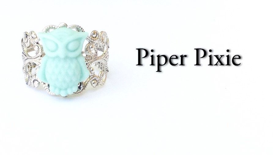 Mint Green Jewelry, Owl Jewelry, Owl Ring, Cute Adjustable Filigree Owl Ring, Handmade Ring, Mint green ring, filigree ring, clay jewellery by PiperPixieDesigns on Etsy https://www.etsy.com/listing/130359611/mint-green-jewelry-owl-jewelry-owl-ring
