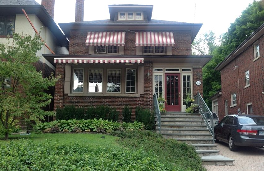Burgundy And Cream Awnings Rolltec Retractable Awnings Toronto Ontario Canada Retractable Awning Awning House Styles