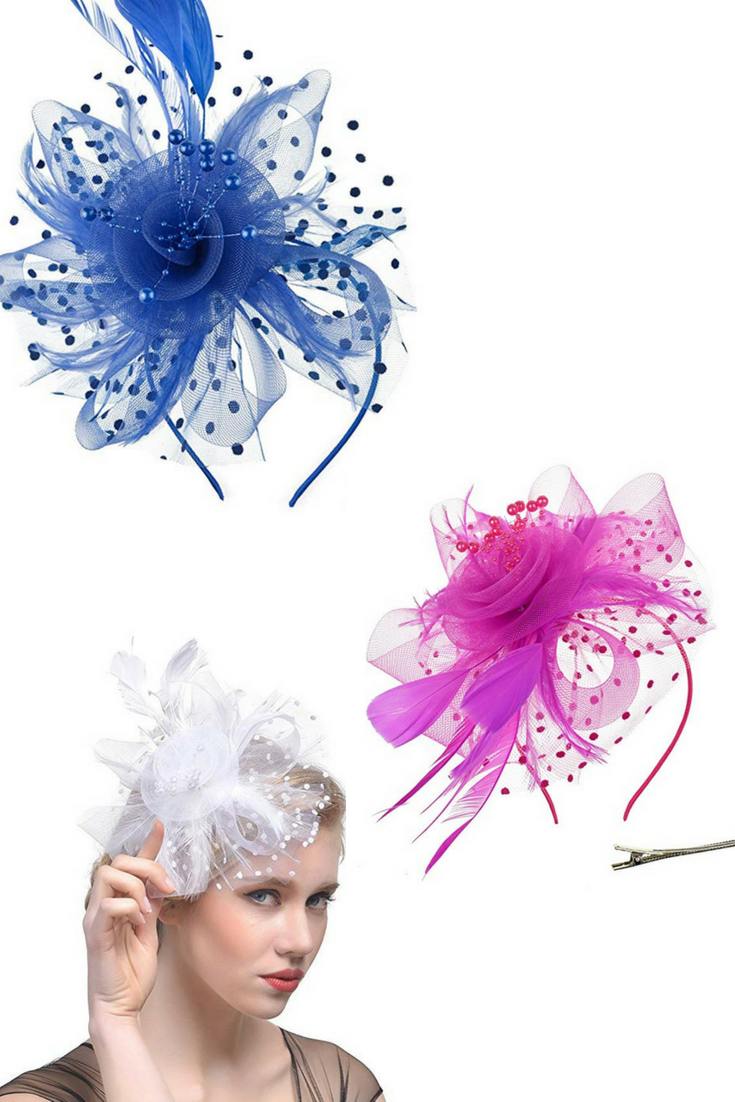 635dfff0aa5f2 DRESHOW Fascinators Hat Flower Mesh Ribbons Feathers on a Headband and a  Clip Tea Party Headwear for Girls and Women  fashion  headwear  party  clip  ...
