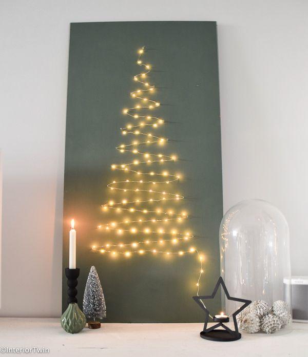 DIY: kerstboom van licht & sterslinger | InteriorTwin #kerstboomversieringen2019