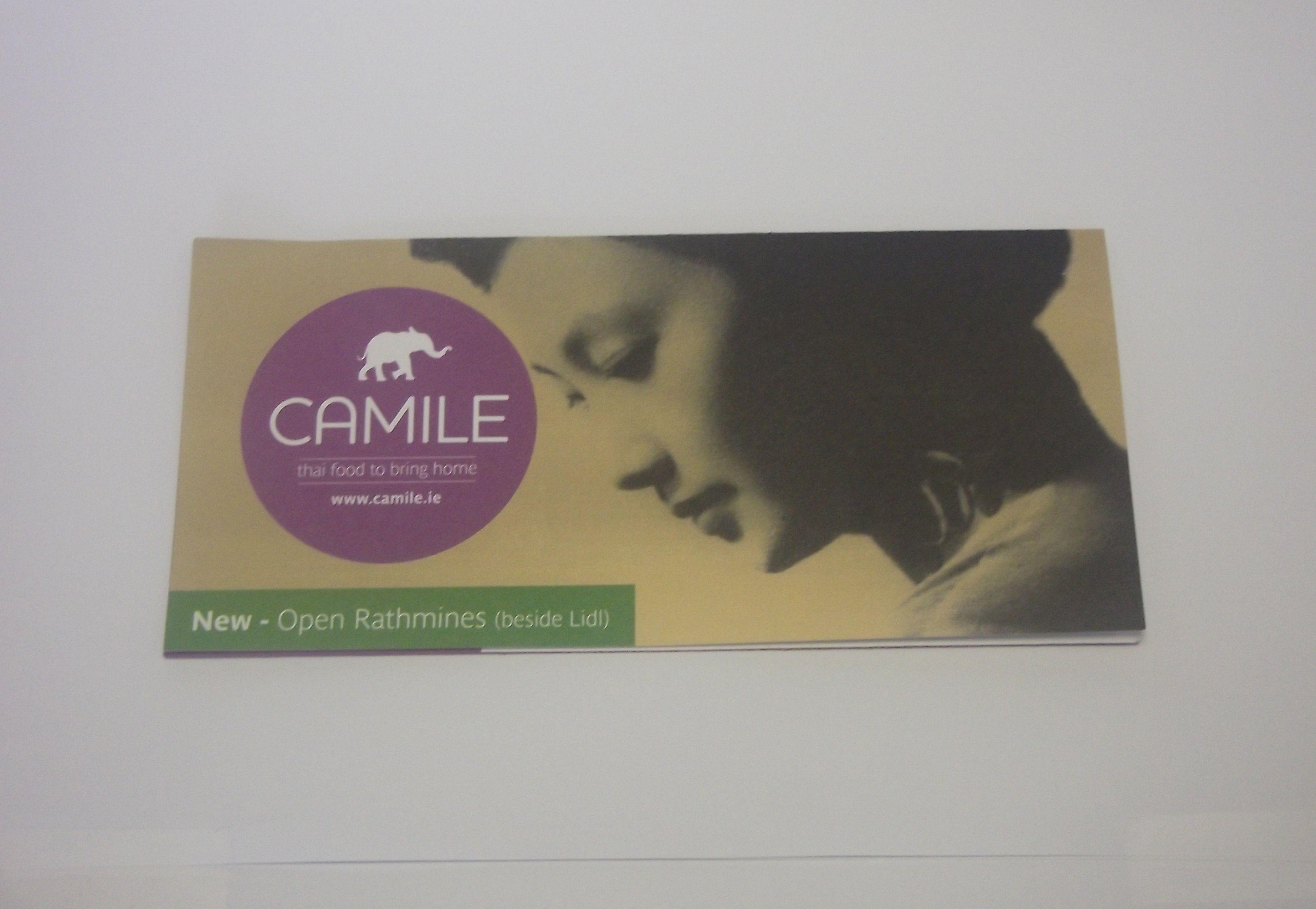 Menu produced for Camile Thai