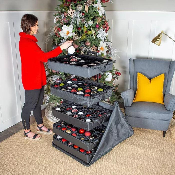 5 Tray Adjustable Telescoping Ornament Storage Bag Tree Keeper