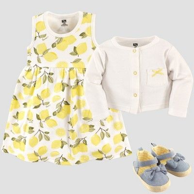 9b4cf3f26 Hudson Baby Girls  Cardigan   Dress Set - Yellow 9-12M