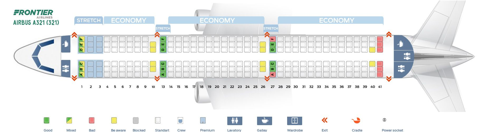 Seat Map And Seating Chart Frontier Airlines Airbus A321 200 321 Airbus Fleet Boeing