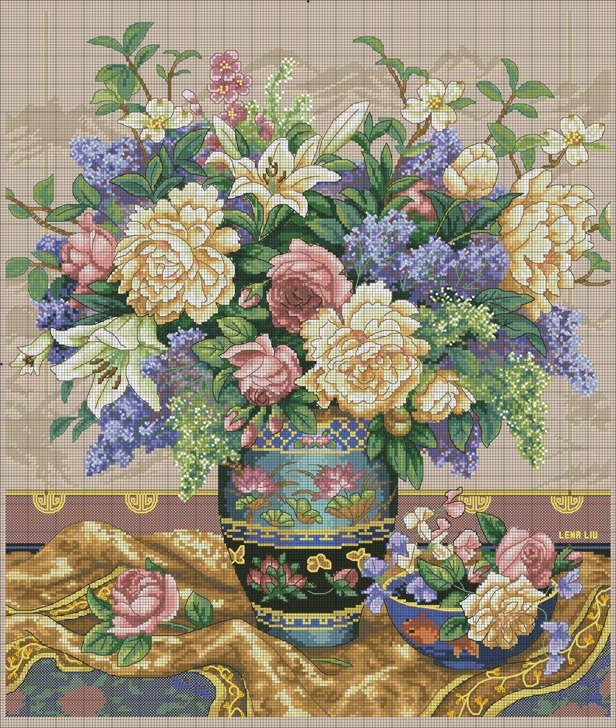 Вышивка крестом античные вазы производитель швейных машин