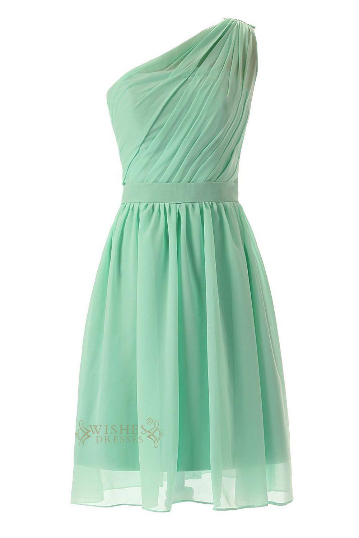 Mint green long dress  Pleated Oneshoulder Mint Chiffon Knee Length Bridesmaid Dress Am