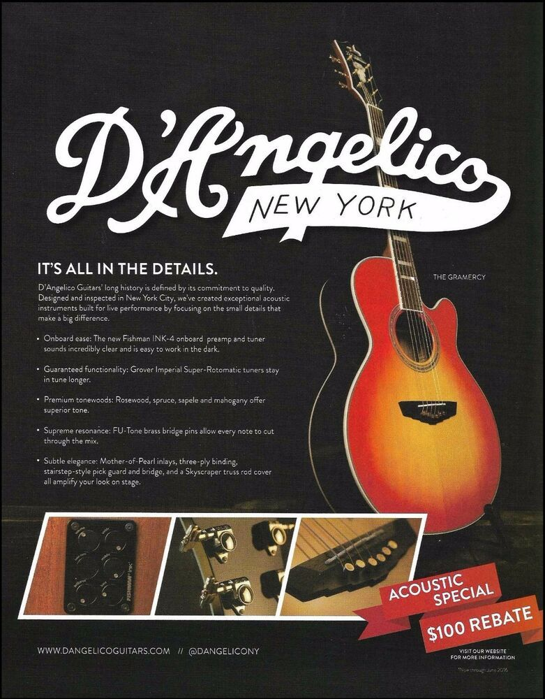 D Angelico New York The Gramercy Acoustic Guitar 2016 Ad 8 X 11 Advertisement Dangelico In 2021 Epiphone Acoustic Guitar Acoustic Guitar Guitar Books