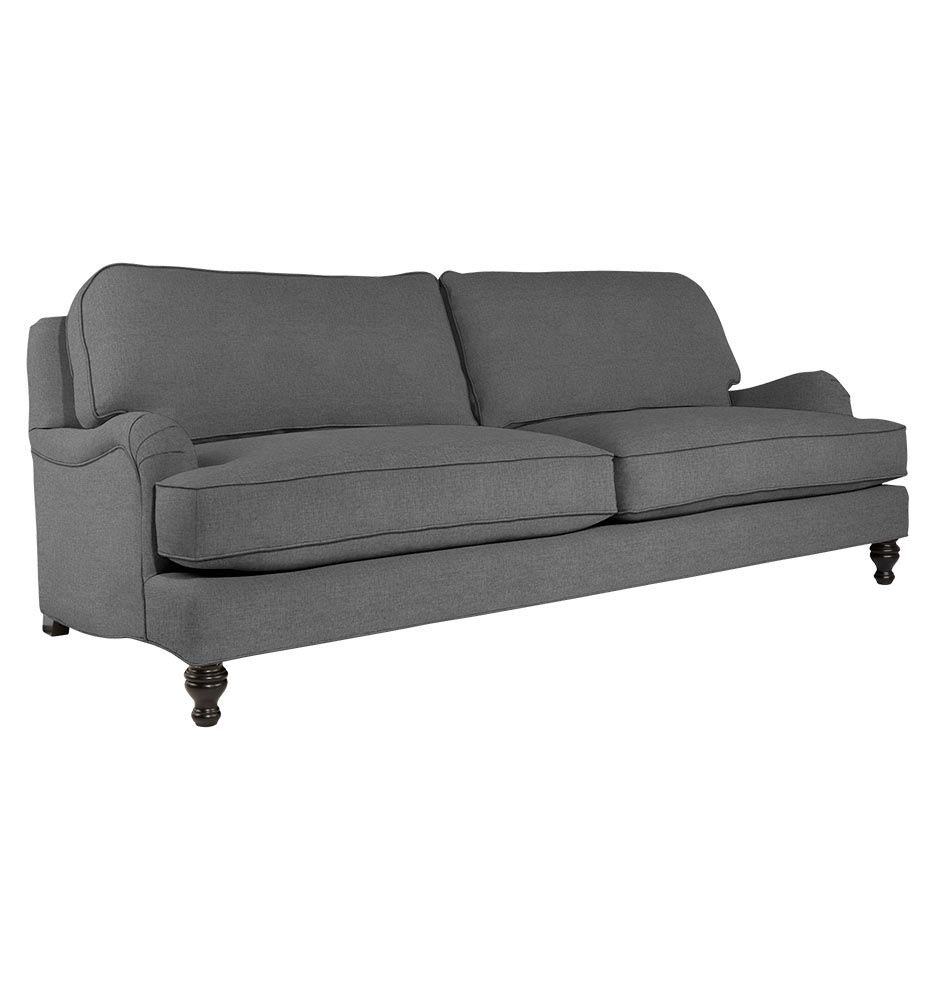 Fine Flanders English Roll Arm Sofa Linen Weave Zulu Charcoal Gamerscity Chair Design For Home Gamerscityorg