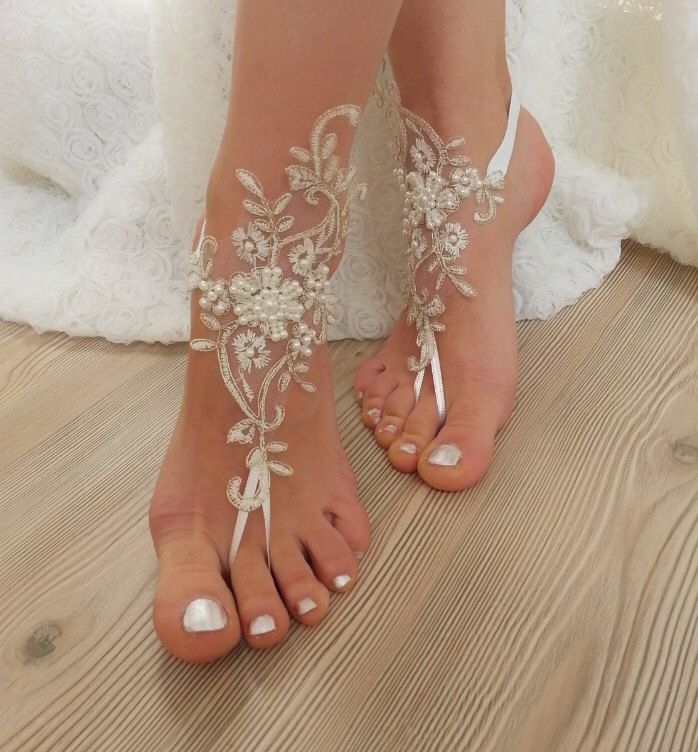 ivory gold beaded, pearl frame Beach, wedding barefoot sandals, Ivory Barefoot Sandals, Sexy, Anklet , Bellydance, Steampunk, Beach Pool by BarefootShop on Etsy https://www.etsy.com/listing/228022707/ivory-gold-beaded-pearl-frame-beach