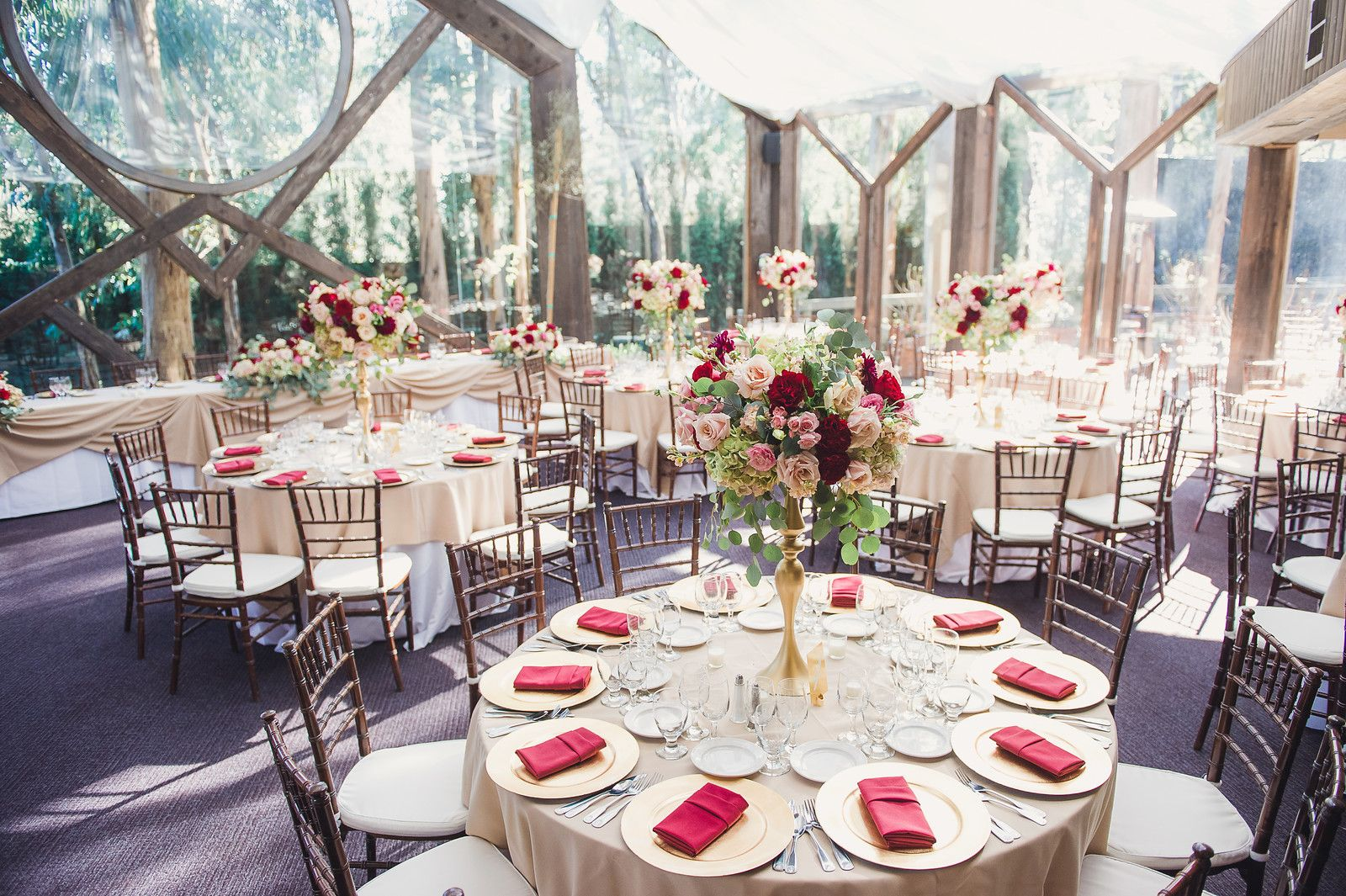 Champagne, red, and pink color scheme Calamigos ranch