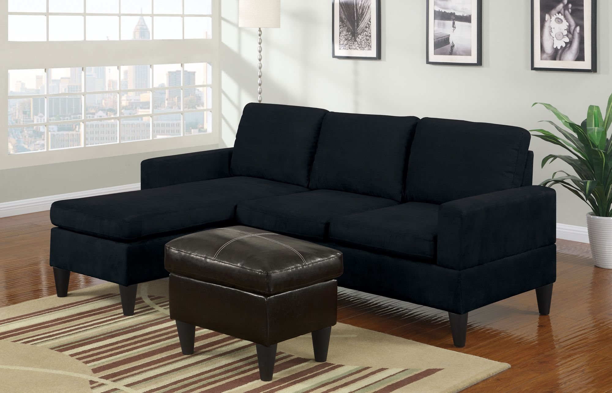 Small Black Microfiber Sectional Sofa