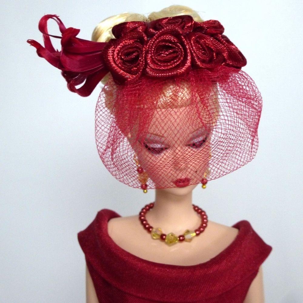 OOAK Vintage Barbie/Silkstone Fashion by Roxy-CLASSIC SHANTUNG SHEATH-BURGUNDY #Roxy