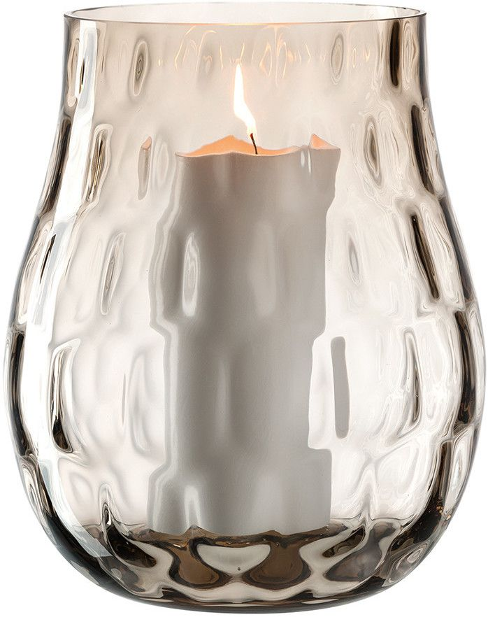 Leonardo Hurricane Lamp Brown 22cm Hurricane Lamps Glass