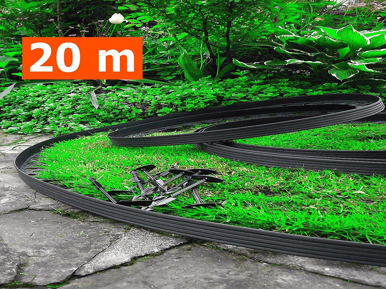 20 mètres - plastique souple bordures de pelouse avec 100 ...