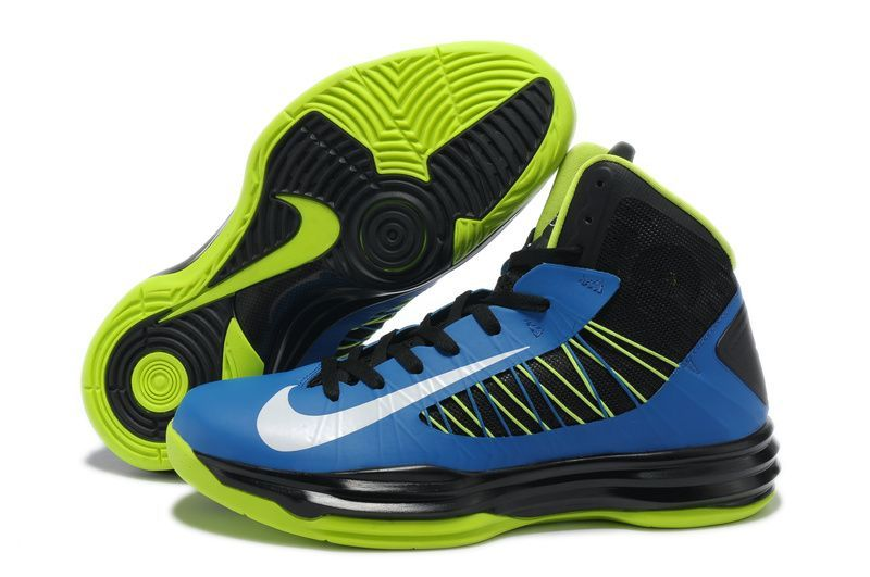 Sale Cheap Nike 2013 Womens Lunar Hyperdunk Black Blue Neon Green for Men  Basketball Shoes Sports Shoes Store