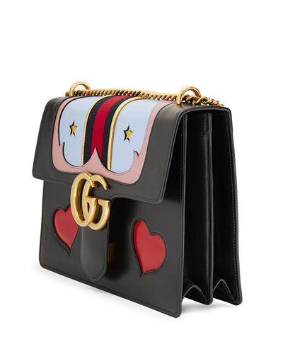 185b885ba7b7 L0P5L Gucci GG Marmont Medium Web Heart Shoulder Bag, Black/Multi ...