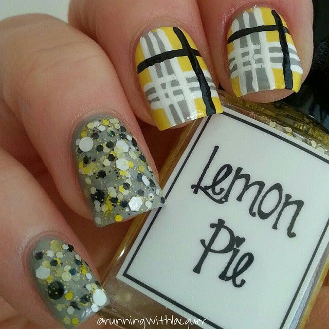 """""""I'm loving this mix and match mani I did for #bomnailartmarch day 6: plaid.  The yellow is @opi_products """"can't cope-acabana"""" and the gray is…"""""""