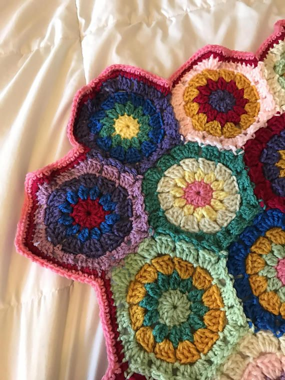 Baby Crocheted Hexagon Afghan Chrocheted Baby Blanket Hexagon